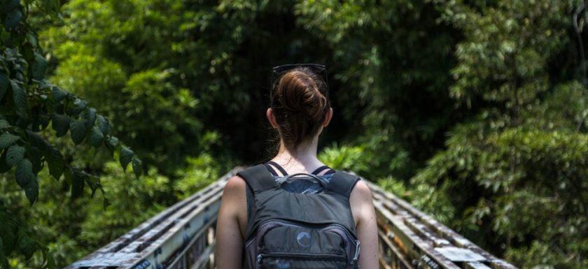 Girl Hiking Trail Bridge